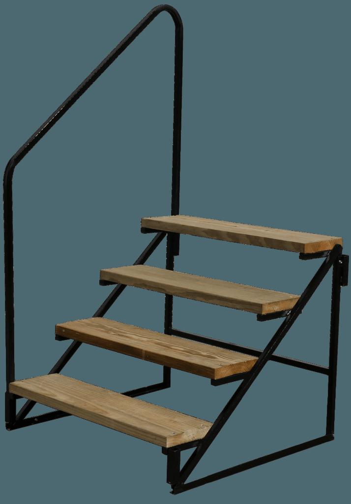 wood metal steps with rail