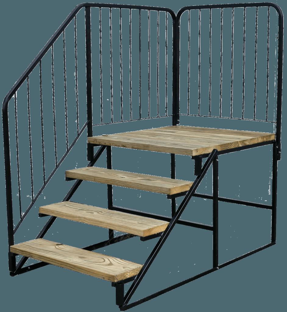 wooden metal steps