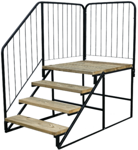Wood Metal Steps With Handrail